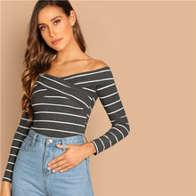 Load image into Gallery viewer, Elegant Cross Wrap Off the Shoulder Striped Top
