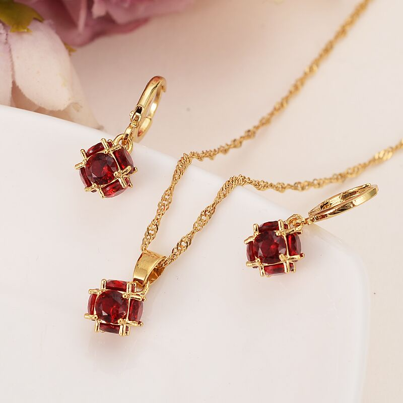 Red  Zircon Jewelry Set Necklace Pendant Earrings