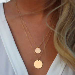 Retro Layered  Bohemian Round Alloy Link Chain Pendant Necklace