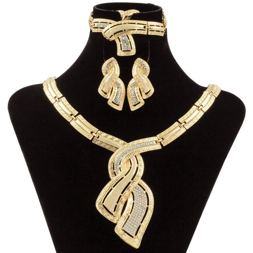 Fashion Gold Italian Crystal Jewelry Set