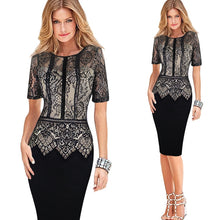 Load image into Gallery viewer, Lace Peplum See Through Sleeve Casual Bodycon Dress