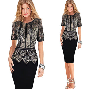 Lace Peplum See Through Sleeve Casual Bodycon Dress