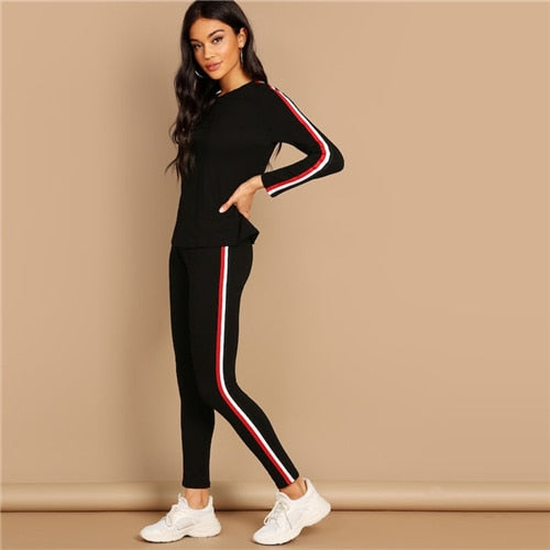 Streetwear Black Striped Tape Tee Pants Long Sleeve Round Neck Two Pieces Set