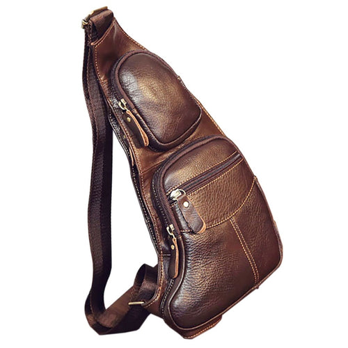High Quality Men Genuine Leather Cowhide Vintage Sling Chest Back
