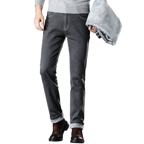 Men's Warm Gray Jeans High Quality Elasticity Slim Denim Jeans