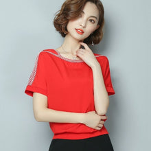 Load image into Gallery viewer, Chiffon Blouse Shirt Causal Short Sleeve Top