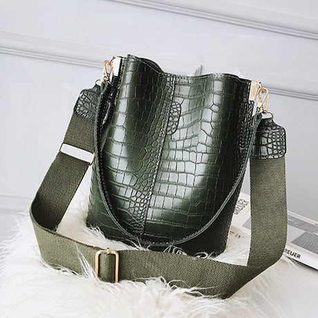 Alligator Handbags Casual Solid Messenger Shoulder Bag