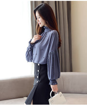 Load image into Gallery viewer, Fashion Chiffon Turtleneck Top