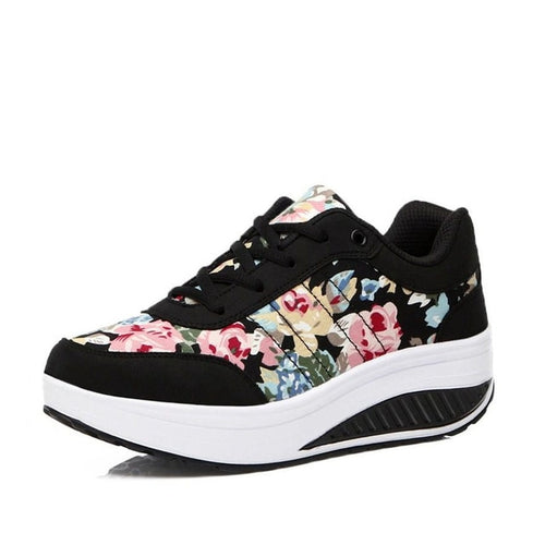 Lace-Up Print Fashion Sneakers
