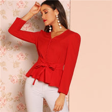 Load image into Gallery viewer, Red Button Detail Knot V-Neck Top