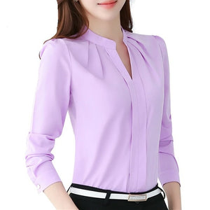 Long Sleeve Casual Chiffon Blouse V-Neck Work Wear