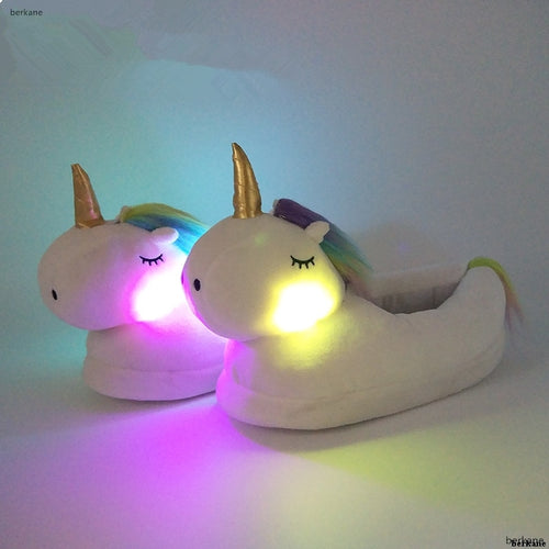 Winter Warm Unicorn With LED Light Slippers