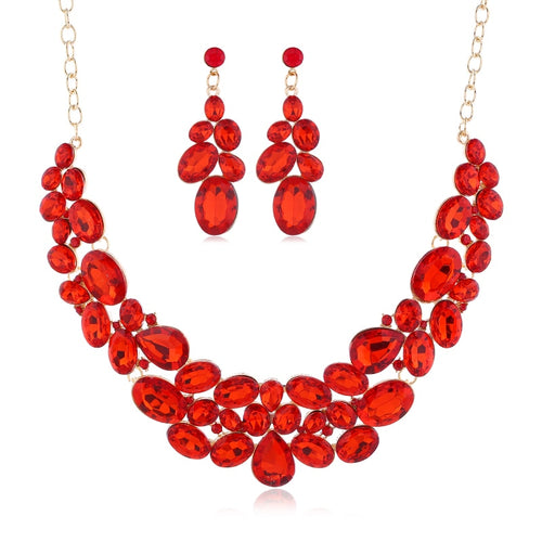 Rhinestones Jewelry Set Necklace/Earrings