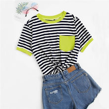 Load image into Gallery viewer, Short Sleeve Pocket Patched Striped T-Shirt
