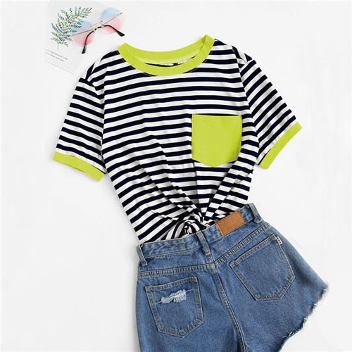 Short Sleeve Pocket Patched Striped T-Shirt