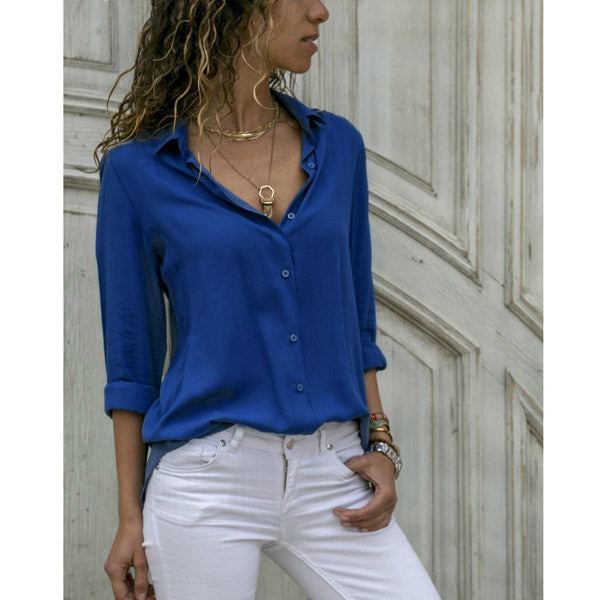 Casual Long Sleeve Chiffon Blouse