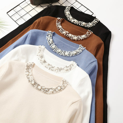 Autumn Winter Women Beaded Elegant Sweater O-Neck