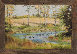 Geese on the South Nation - Oil on Canvas Framed