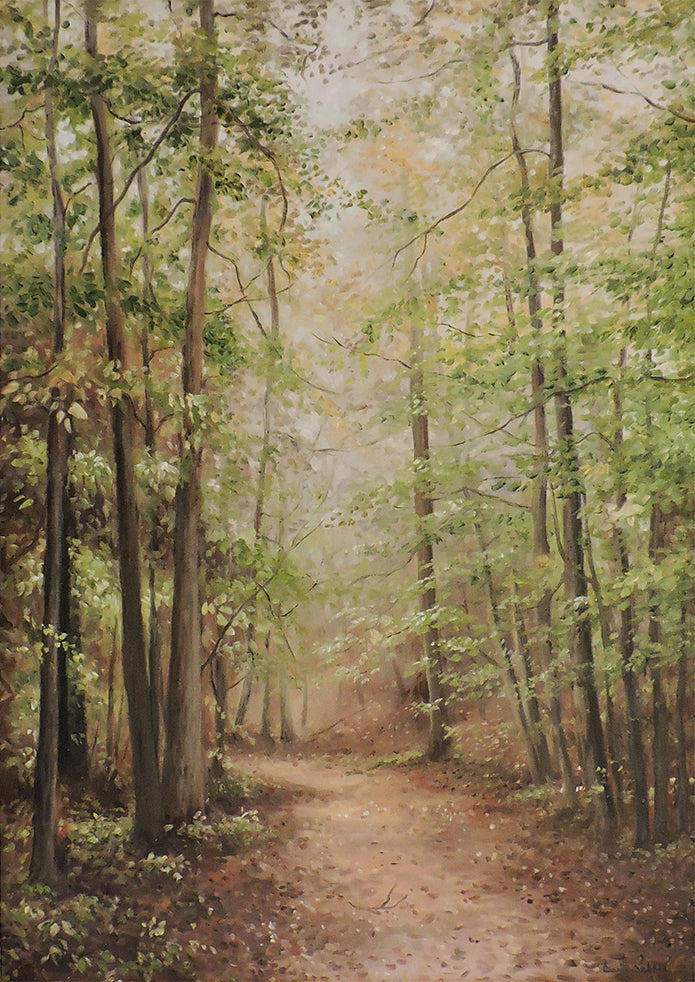Misty Morning Walk - Oil Painting on Canvas