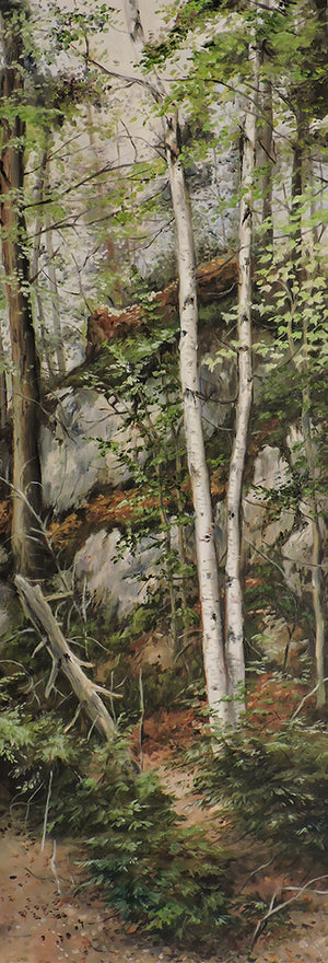 Pair of Birches - Oil on Canvas