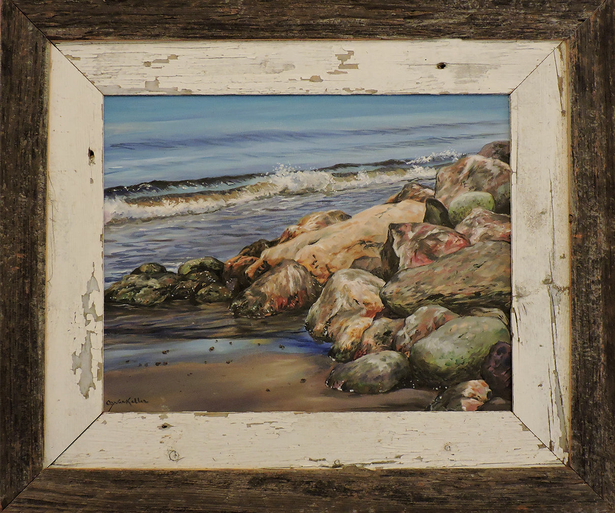 Rocks on Bay St. George - Oil on Canvas Framed