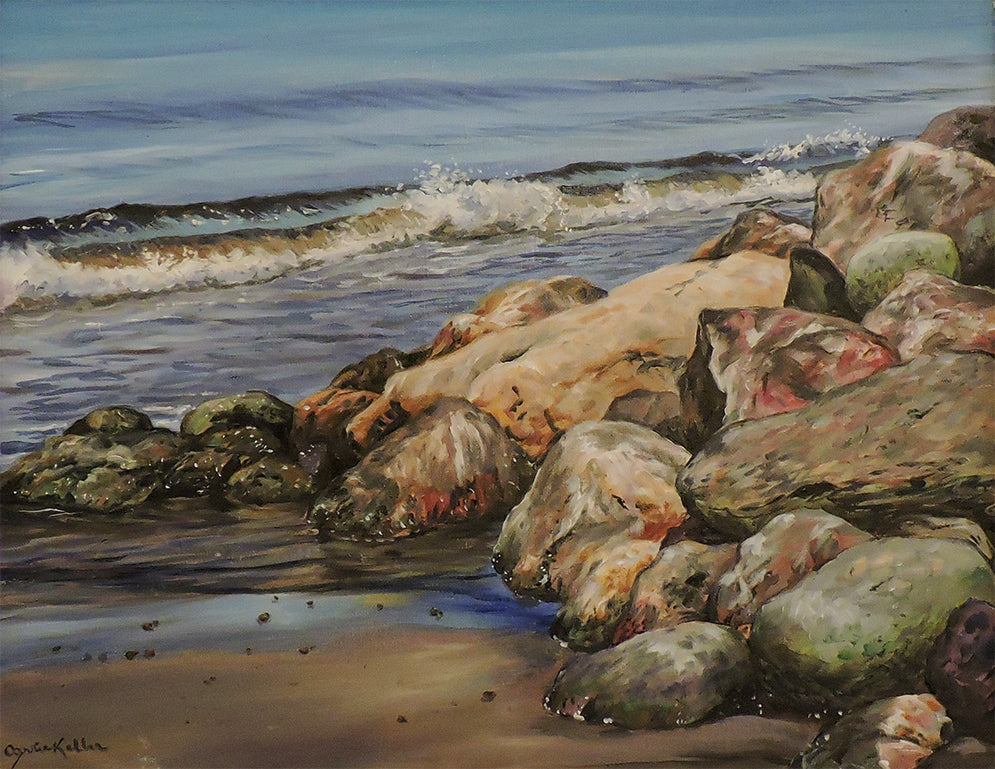Rocks on Bay St. George - Oil on Canvas