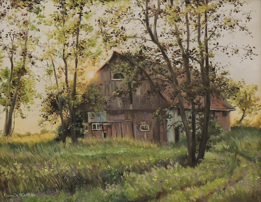 Sun Setting on Winchester Barn - Oil on Canvas