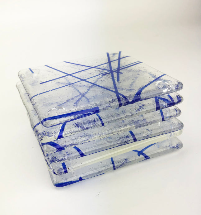 Clear and Blue Lined Coaster Set of Six (10AR119)