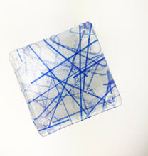 Load image into Gallery viewer, Clear and Blue Lined Coaster Set of Six (10AR119)