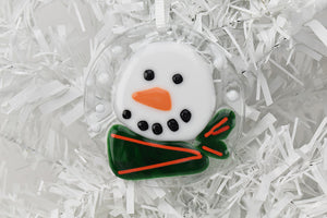 Glass Christmas ornament snowman with scarf (10AR219)