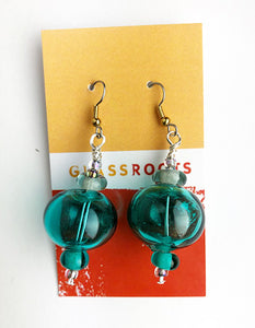 Teal Hollow Bead Earrings