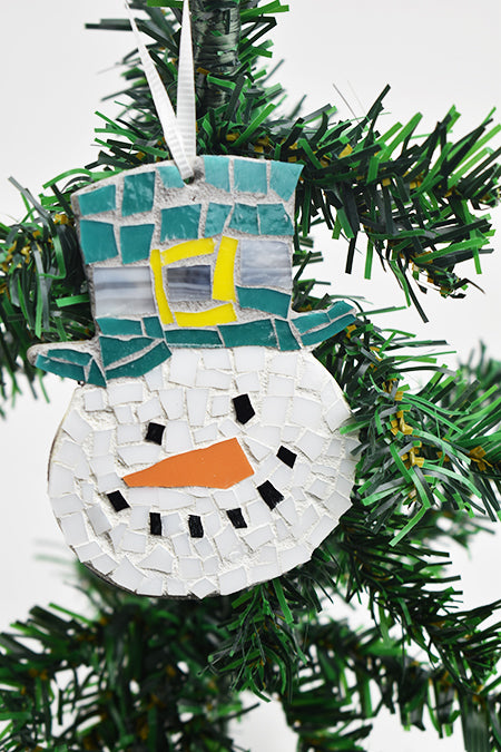 Snowman ornament with aqua hat (11AR219)
