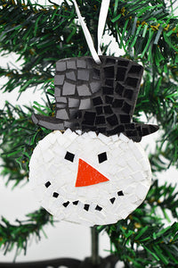 Snowman ornament with black hat (11AR419)