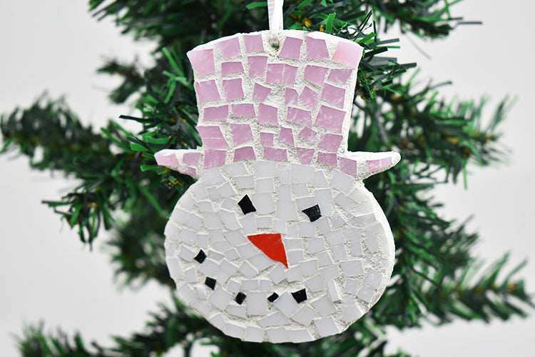 Snowman ornament pink hat (11AR519)