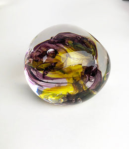 Yellow and Purple Paperweight (11GR1619)