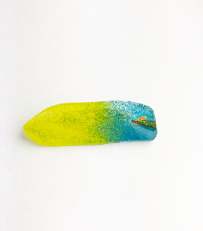 Abstract Yellow Aqua Fused Glass Pin (11GR319)