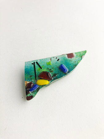 Triangle Abstract Fused Glass Pin (11GR519)