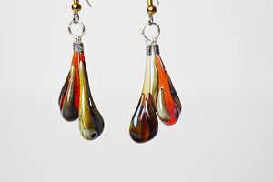 teardrop glass earrings (11LT719)