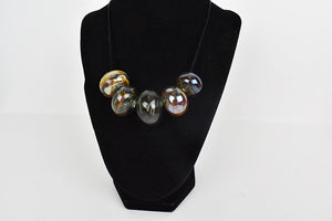 5 blown glass beads necklace grey and gold metalic