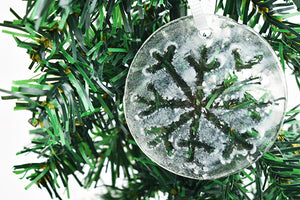 Snowflake fused glass ornament (12GR2219)