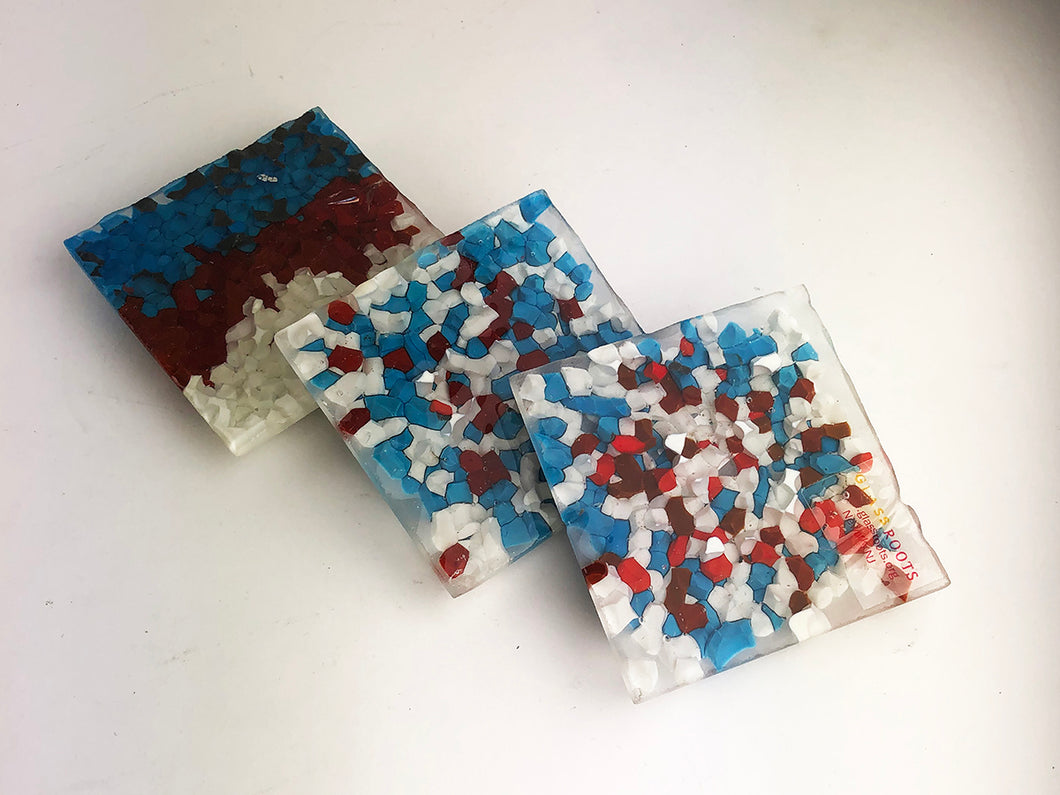 Red White Blue Dot Coasters (1AR220)