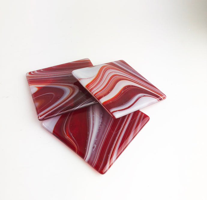 Red and White Swirl Coasters (1AR220)