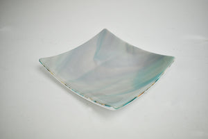 Marble teal and white glass plate (1AR320)