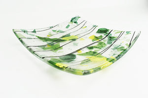 Green confetti striped plate (1AR420)