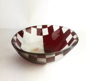 Red and Clear Checkered Bowl (1GR2617)