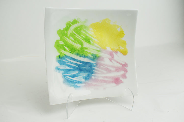 Pastels on white glass plate (1GR5217)