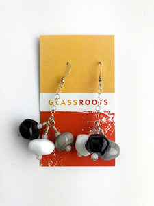 Black and White Cluster Earrings