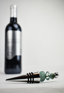 Wine bottle stopper with glass beads (1LT320)