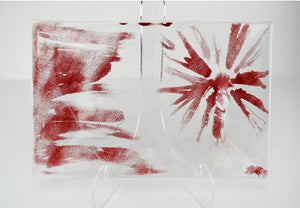 Glass Plate Clear With Red Design