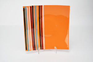 Orange Slumped Glass Plate With Fused Stipes